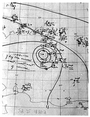 1944 Atlantic hurricane season - Image: Tropical Storm Two analysis 1944