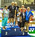 Turin, Italy…2013 WMG medal presentations…Open 70 MX - Gold-Michael & Sally…2nd Judy & (Robin)…3rd Marg & Murray and Roslyn & Wilhelm (10831028856).jpg