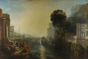 Dido constrúe Cartago, ou o auxe do reino cartaxinés (1815), de Joseph Mallord William Turner, National Gallery, inspirada na obra de Lorrain.