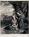 Two sister sit under a tree decorating each others' hair wit Wellcome V0038791.jpg