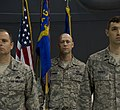 U.S. Air Force Col. Eric Froehlich, left, the commander of the 5th Maintenance Group, Master Sgt. Christopher Lawson, center, the acting first sergeant of the 5th Maintenance Operations Squadron (MOS), and Maj 130531-F-RB551-092.jpg