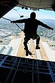 U.S. Air Force pararescuemen assigned to the 131st Rescue Squadron conduct static-line jump qualifications above Moffett Federal Airfield, Calif., June 2, 2013 130602-Z-IG805-159.jpg