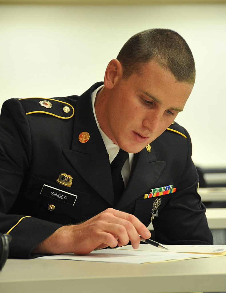 file u s army spc devin singer the st transportation file u s army spc devin singer the 851st transportation company writes an essay during the 79th u s army reserve sustainment support command s best