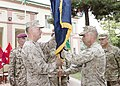 U.S. Marine Corps Gen. Joseph F. Dunford Jr., left foreground, the outgoing commander of the International Security Assistance Force (ISAF) and U.S. Forces-Afghanistan (USFOR-A), takes the USFOR-A colors from 140826-D-HU462-521.jpg