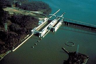 Wheeler Lake - Wheeler Lock and Dam, impounding Wheeler Lake on the Tennessee River