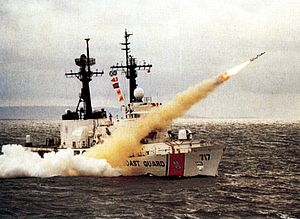 USCGC Mellon (WHEC-717) - Mellon launching a Harpoon missile in 1990.
