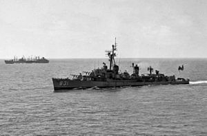 Radar picket - USS ''Goodrich'' (DDR-831) underway in 1950s radar picket configuration.