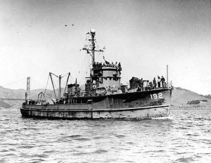 USS YMS-192 in San Francisco Bay after World War II, c. April 1946. The minesweeper was later renamed Condor (AMS-5).