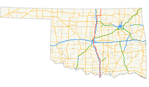 U.S. Route 77 in Oklahoma - Image: US 77 (Oklahoma) map