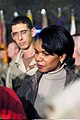 US Navy 031127-A-7275M-004 Dr. Condoleezza Rice, National Security Advisor, speaks with 1st Armored Division soldiers during a Thanksgiving.jpg
