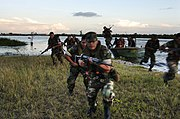 US Navy 040626-N-1464F-019 Peruvian Marines conduct a beach assault during UNITAS 45-04 field training along the Amazon River