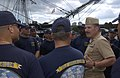 US Navy 040901-N-0962S-093 Master Chief Petty Officer of the Navy (MCPON) Terry Scott speaks to a group of chief petty officer (CPO) selectees during a visit to the U.S. Navy's sail ship USS Constitution.jpg