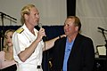 US Navy 050821-N-7281D-066 Commander, Carrier Strike Group Seven, Rear Adm. Michael H. Miller, extends gratitude to Michael Reagan, son of former President Ronald Reagan and radio talk show host.jpg