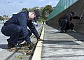 US Navy 060421-N-5686B-002 Storekeeper 1st Class Eric Beals stationed at Fleet and Industrial Supply Center, pulls weeds along the side of the road at Commander Fleet Activities Yokosuka, Japan.jpg