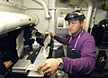 US Navy 060608-N-7981E-026 Aviation Boatswain's Mate Fuels 3rd Class Michael Irwin tests aviation fuel samples for sediment and water contamination aboard the Nimitz-class aircraft carrier USS Abraham Lincoln (CVN 72).jpg