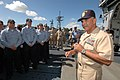 US Navy 061030-N-4965F-002 Master Chief Petty Officer of the Navy (MCPON) Joe R. Campa Jr. speaks with Sailors assigned to the Ticonderoga-class guided missile cruiser USS Lake Erie (CG 70) during a visit to Naval Station Pearl.jpg