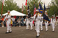 US Navy 080607-N-7783B-003 Service members assigned to the guided-missile destroyer USS Preble (DDG 88) march in the Grand Floral Parade as part of the 101st Annual Rose Festival during Fleet Week in Portland.jpg