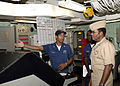 US Navy 080821-N-1713L-096 NORFOLK, Va. (Aug. 21, 2008) Electrician's Mate 2nd Class Jonathan Foster explains engineering systems aboard the amphibious transport dock ship USS San Antonio (LPD 17), to Vice Adm. Mel Williams Jr.jpg