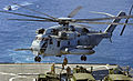 US Navy 090609-N-5345W-029 Marines assigned to the 22nd Marine Expeditionary Unit (MEU) fast rope from a CH-53 Super Stallion to the flight deck of the amphibious dock landing ship USS Fort McHenry (LSD 43).jpg
