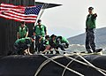 US Navy 100309-N-0780F-089 Crewmembers conduct mooring operations as the Ohio-class guided-missile submarine USS Florida (SSGN 728) arrives for a routine port visit to the island of Crete.jpg