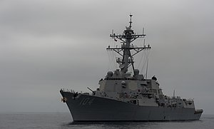 US Navy 110928-N-TU221-257 The Arleigh Burke-class guided-missile destroyer USS Sterett (DDG 104) is underway conducting a composite training unit.jpg