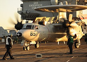 US Navy 111213-N-RB391-082 Sailors assigned to the air department of the aircraft carrier USS Enterprise (CVN 65) prepare to launch an E-2C Hawkeye.jpg