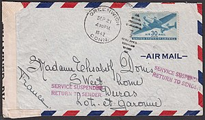 Dead letter mail - Returned censored airmail cover from Greenwich, Connecticut, United States to France stamped 24 September 1942.