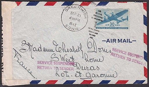 US airmail-Fr 1942 RTS Service Suspended