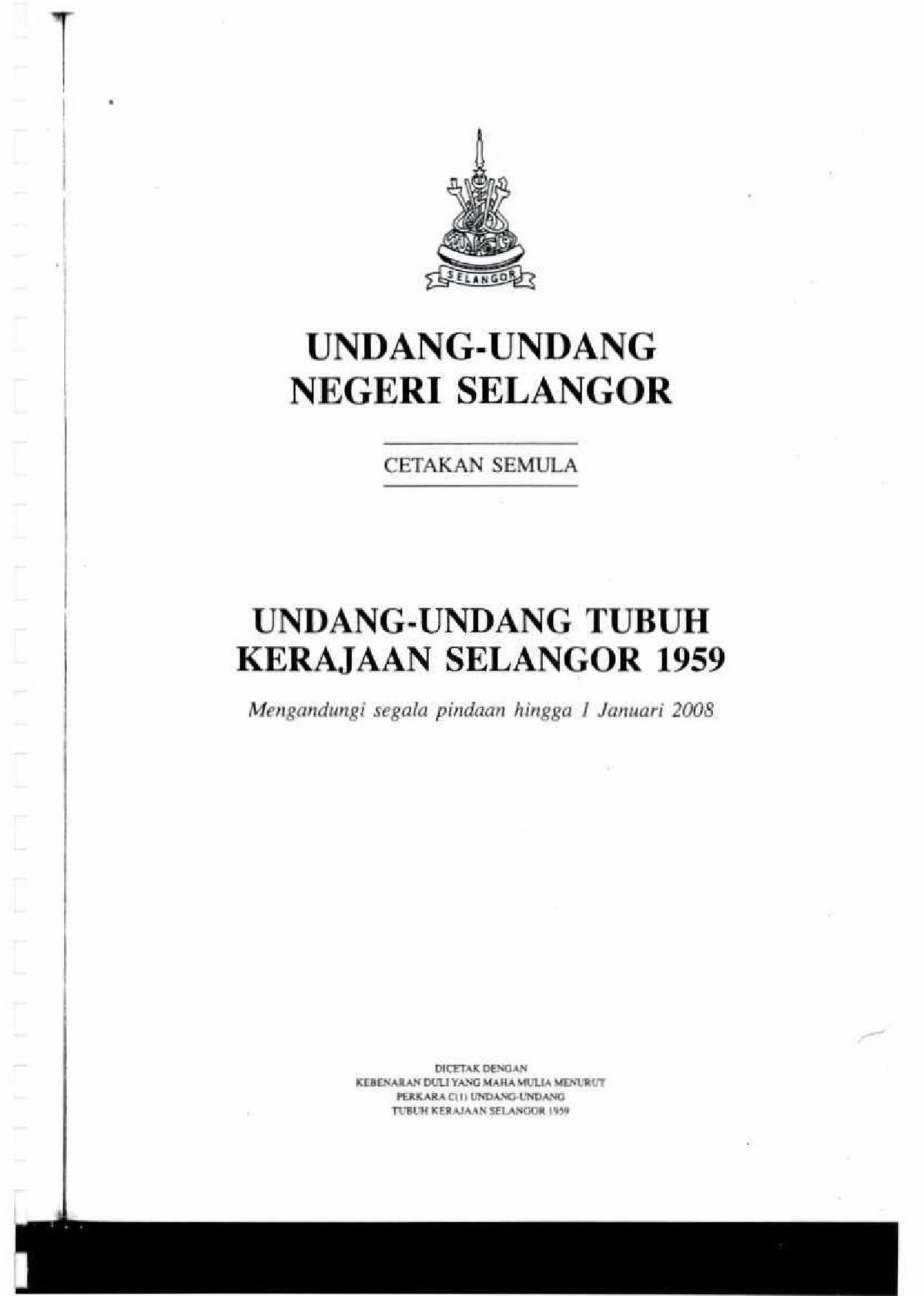 Laws Of The Constitution Of Selangor 1959 Wikipedia