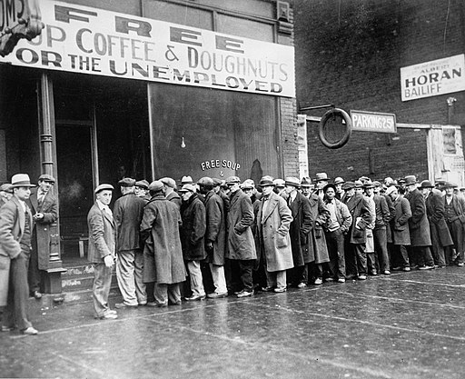 Unemployed men queued outside a depression soup kitchen opened in Chicago by Al Capone, 02-1931 - NARA - 541927