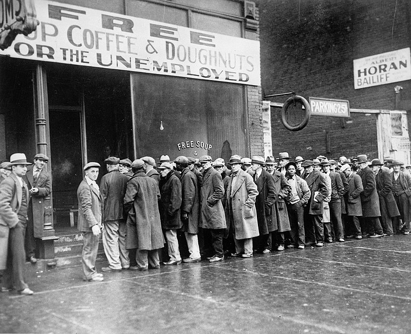 Unemployed men queued outside a depression soup kitchen opened in Chicago by Al Capone, 02-1931 - NARA - 541927.jpg
