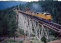 Union Pacific freight on the Clio trestle, May 1994.jpg