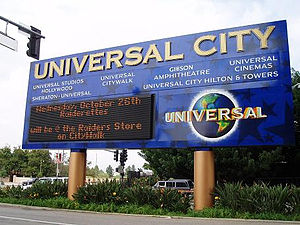 Universal City, California - The Universal City sign, on the corner of Lankershim Boulevard and Universal Hollywood Drive in 2009.
