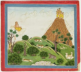Illustrations to Life of Dhurva Maharaj: #22 Dhurva reaches the mountain of gold where 7 sacred Rishis who are called the Seven Stars receive him