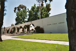 Upland City Hall (left) and Upland Public Library (right)
