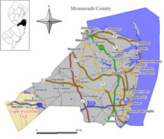 Map of Upper Freehold Township in Monmouth County. Inset: Location of Monmouth County highlighted in the State of New Jersey.