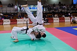 Practitioners demonstrating Ura-nage Judo throw