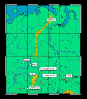 uralfjellene kart Uralfjellene – Wikipedia uralfjellene kart