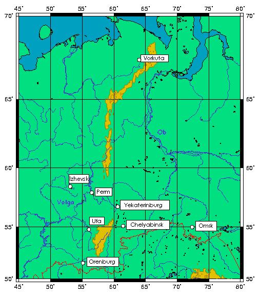 Ural Mountains Map 2