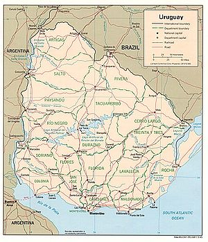 Geography of Uruguay - Political map of Uruguay