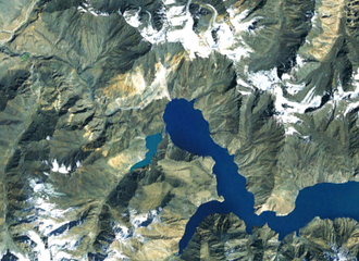 Sarez Lake - Satellite photo of the western end of Sarez Lake showing the Usoi Dam and the smaller Shadau Lake