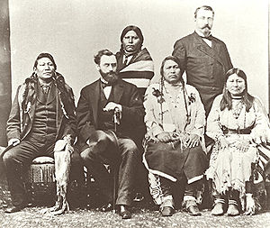 Charles Adams (Colorado) - Delegation of Ute Indians in Washington, D.C. in 1880. Background: Woretsiz and General Charles Adams are standing. Front from left to right: Chief Ignatio of the Southern Utes; Secretary of the Interior Carl Schurz; Chief Ouray and his wife Chipeta.