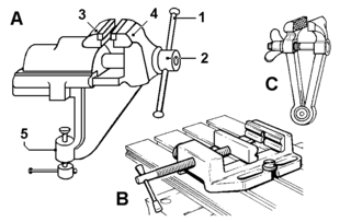 Vise Device to secure an object to be worked on