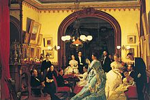 Painting of formally-dressed people in a room