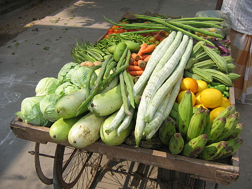 Vegetables for sale on a street in Guntur, India.