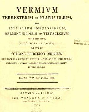 "Otto Friedrich Müller - Title page of ""Vermivm terrestrium et fluviatilium, seu, Animalium infusoriorum, helminthicorum et testaceorum, non marinorum, succincta historia / auctore Othone Friderico Müller"""
