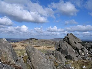 Preseli Hills - View from Carn Menyn eastwards towards Foel Drygarn (centre-left) and Y Frenni (centre-right) in the distance