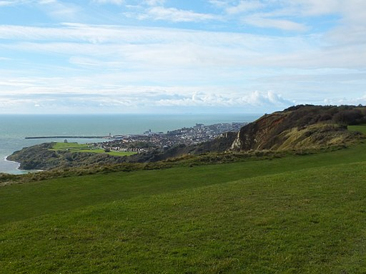 View of Folkestone, Warren and harbour from Battle of Britain Memorial 0265