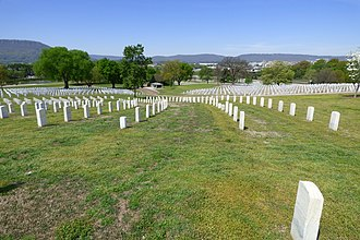 Chattanooga National Cemetery - View across the cemetery to Lookout Mountain, the site of one of the battles in 1862.