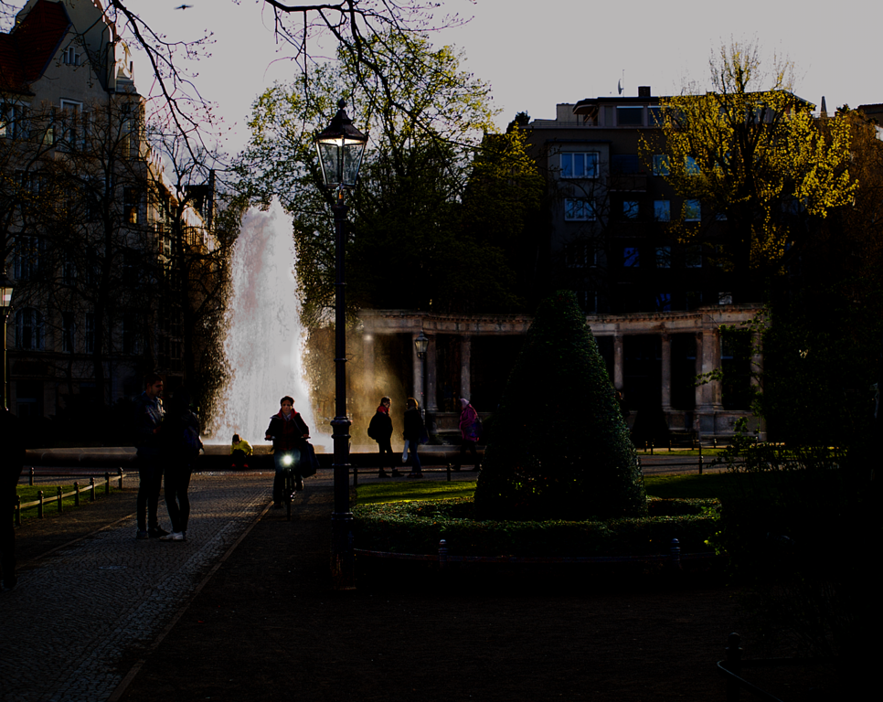 The Fountain at Viktoria-Luise-Platz at Dusk.
